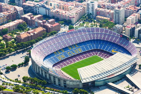 BARCELONA, SPAIN - AUGUST 1, 2014: Aerial view of Camp Nou - largest stadium of Barcelona.  Catalonia