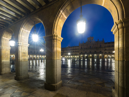 mayor: arches  at Plaza Mayor at Salamanca in night.   Spain Stock Photo