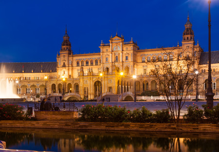 sevilla: Plaza de Espana in evening time. Sevilla, Spain Stock Photo