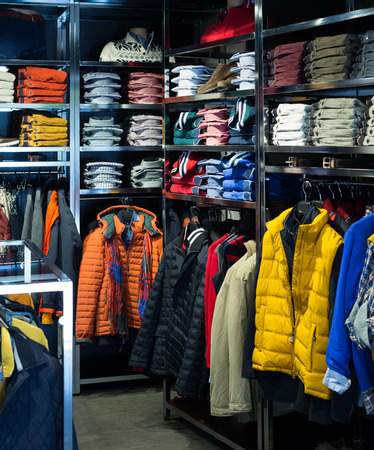 casual men: Showroom with casual men clothes Stock Photo