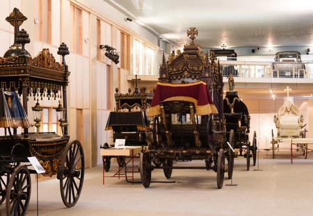 hearse: BARCELONA, SPAIN - JULY 20, 2014: Vintage hearses in interior of Catafalque Museum  in Barcelona, Spain Editorial