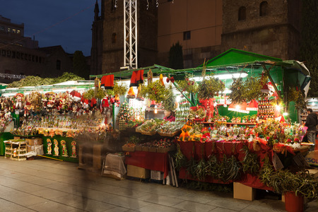 BARCELONA, SPAIN - DECEMBER 2: Stands With Traditional Christmas ...