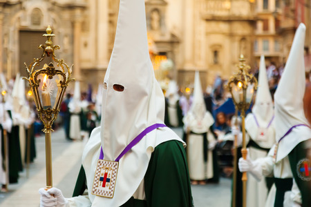 semana santa: MURCIA, SPAIN - APRIL 15, 2014: Semana Santa in Murcia. Holy Week is  annual commemoration  by Catholic religious brotherhoods, processions on  streets of almost every Spanish city and town