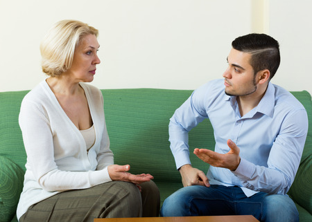 Difficulties of communication between adult son and  mother