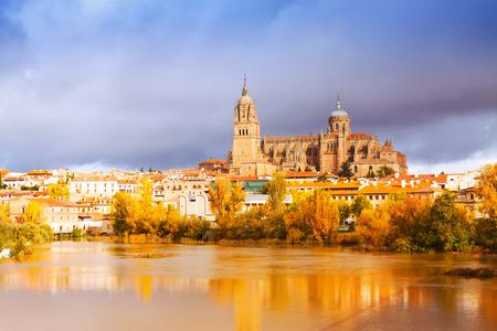 salamanca: Salamanca Cathedral from Tormes River  in november. Spain