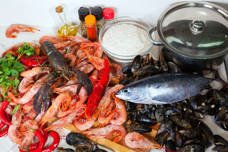 nutricion: fresh marine products in domestic kitchen