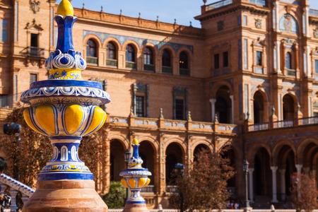 sevilla: Closeup of Plaza de Espana at Sevilla. Andalusia, Spain Editorial