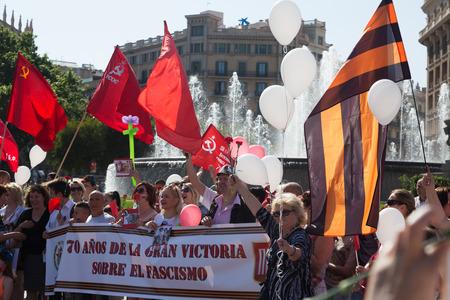 emigranti: Spagna, Barcellona - 9 maggio 2015: corteo cerimoniale dedicato al 70 � anniversario della vittoria dall'evento seconda guerra mondiale in Spagna