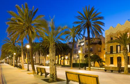 rambla: Evening view of Rambla passage at Badalona. Catalonia, Spain