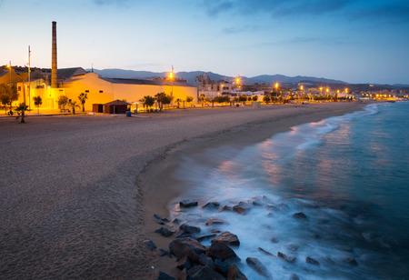 fabrica: beach of Badalona in evening time.  Spain