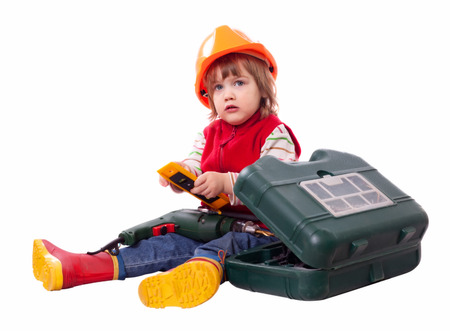 hardhat: two  years  baby builder in hardhat with drill and toolbox. Isolated over white