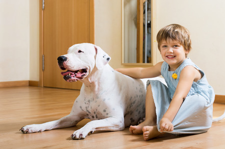argentino: little pretty girl on the floor with dogo Argentino (focus on dog)