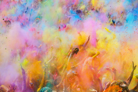 BARCELONA, SPAIN - APRIL 12, 2015:   Festival de los colores Holi. Holi is traditional holiday of India Publikacyjne