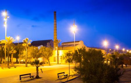 fabrica: Embankment at Badalona in night. Catalonia, Spain