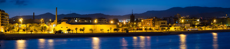 fabrica: Panorama of seaside of Badalona in evening. Catalonia, Spain