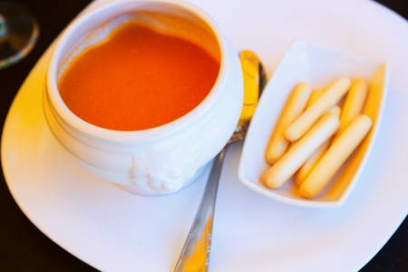 andalusian cuisine: gazpacho - spanish  cold soup on restaurant table Stock Photo