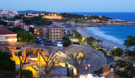 roman amphitheater: The Roman amphitheater in evening. Tarragona, Spain