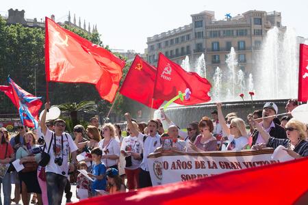 emigranti: Spagna, Barcellona - 9 maggio 2015: corteo cerimoniale dedicato al 70 � anniversario della vittoria dall'evento seconda guerra mondiale a Barcellona, ??Spagna