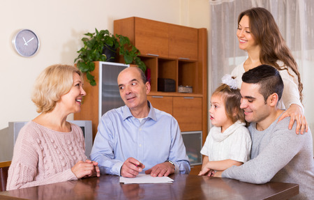 hypothec: Big family making shopping list together indoor Stock Photo