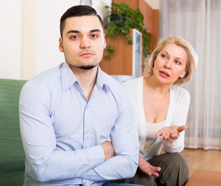 Domestic quarrel between adult son and senior mother