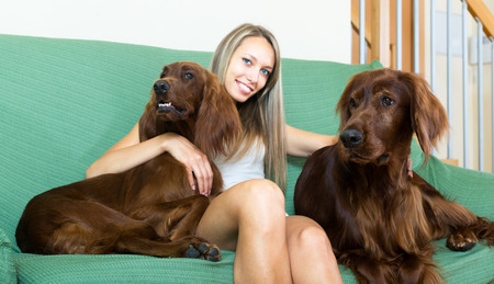 irish woman: Young woman sitting on a couch with two red Irish setters. Focus on dogs