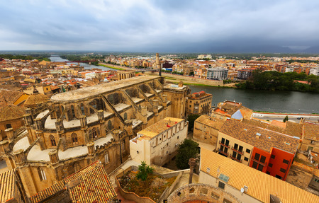 ebre: Top view of Tortosa with Cathedral from castle. Spain