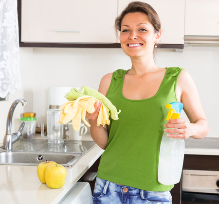 cleanser: Cheerful young housewife with cleanser and rag at home kitchen Stock Photo