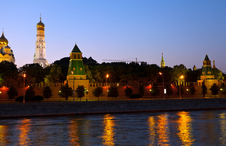 moskva river: View of Moscow Kremlin in summer night. Russia