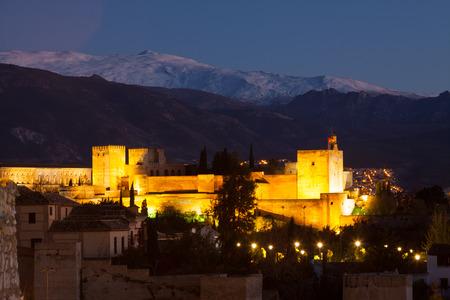 sierra nevada: Night view  of  Alhambra with Sierra Nevada in  background.  Granada