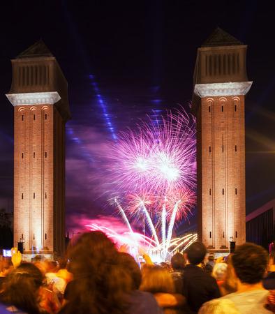 merce: BARCELONA, CATALONIA - SEPTEMBER 24: Firework 24, 2013 in Barcelona, Catalonia. Light and music show at closing ceremonies of La Merce Festival