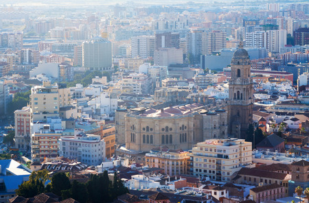 cityspace: View of Malaga Cathedral and cityspace from castle. Spain
