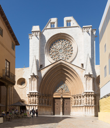 gothic architecture: TARRAGONA, SPAIN - MAY 16, 2015: Tarragona Cathedral.  It is dating to 12th-13th centuries, combining Romanesque and Gothic architecture