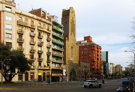augusta: BARCELONA, SPAIN - MARCH 8, 2015: View of Augusta avenue in Barcelona, Spain.  Located in the Gracia district Editorial