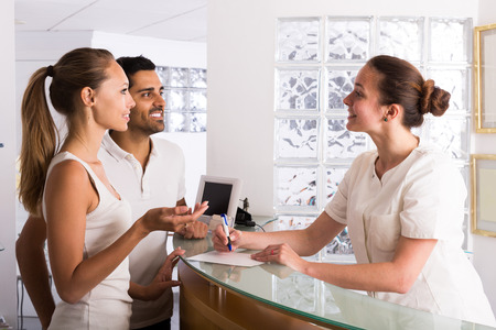adult european couple patients visiting clinic family planning Stock Photo