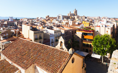 catalunia: TARRAGONA, SPAIN - MAY 16, 2015: Top view of  Catalan city with Cathedral. Tarragona, Catalunia