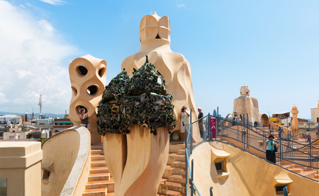 paseig: BARCELONA, SPAIN - JUNE 15, 2015: Roof of Casa Mila (La Pedrera) built in 1905–1910 by  architect Antoni Gaudi