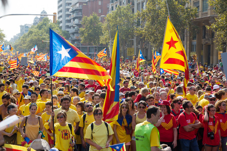 independency: BARCELONA, SPAIN - SEPTEMBER 11, 2014: People at  rally to 300th anniversary of the loss of independence of Catalonia  in Barcelona