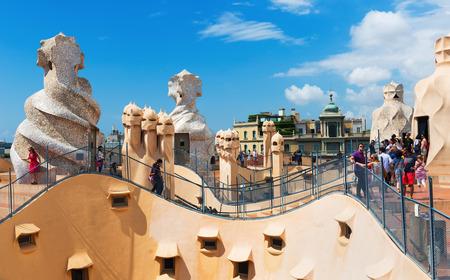 BARCELONA, SPAIN - JUNE 15, 2015: Roof of Casa Mila (La Pedrera)  by Catalan architect Antoni Gaudi. Barcelona, Spain Editorial