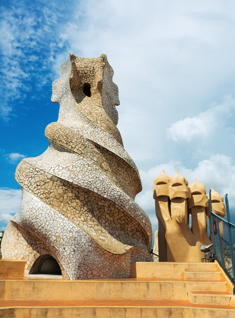 paseig: BARCELONA, SPAIN - JUNE 15, 2015: Closeup of  Casa Mila  built in 1905–1910 by Catalan architect Antoni Gaudi. Barcelona, Spain