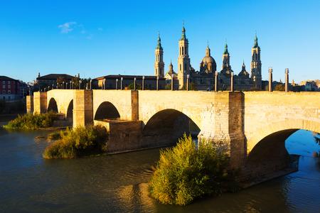 aragon: Medieval stone bridge in morning. Zaragoza, Aragon Stock Photo