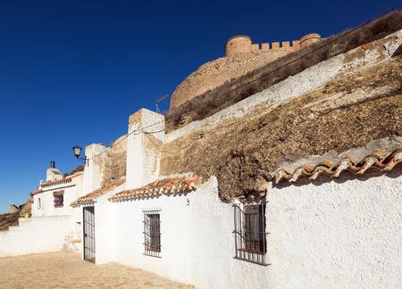 chinchilla: Dwelling  houses built into rock. Chinchilla de Monte-Aragon, province of  Albacete, Spain Stock Photo