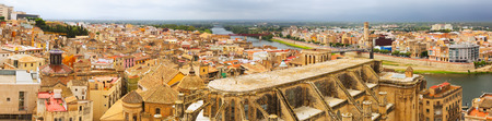 ebre: Panorama of  Tortosa with Cathedral from Suda castle