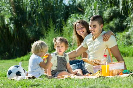 familia pic nic: D�as de vacaciones de la familia joven con picnic en el campo Foto de archivo
