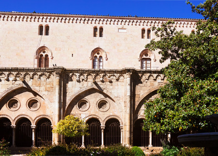 cloister: Gothic cloister of Tarragona Cathedral. Catalonia Stock Photo