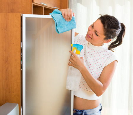 shred: Joyful woman cleaning glass with atomizer and shred