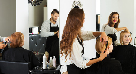 hairtician: Young woman cuts hair at the beauty salon Stock Photo