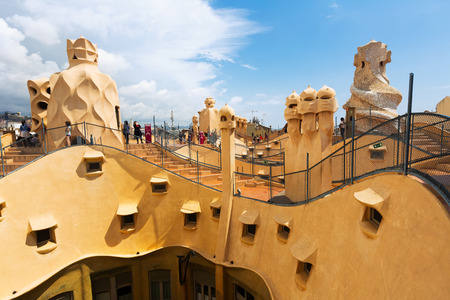 paseig: BARCELONA, SPAIN - JUNE 15, 2015: Roof of  La Pedrera  by Catalan architect Antoni Gaudi. Barcelona, Spain Editorial