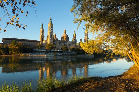 zaragoza: Basilica   in sunny morning. Zaragoza, Spain Stock Photo