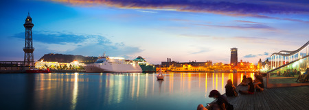 barcelona spain: Panoramic view of Port Vell in evening. Barcelona