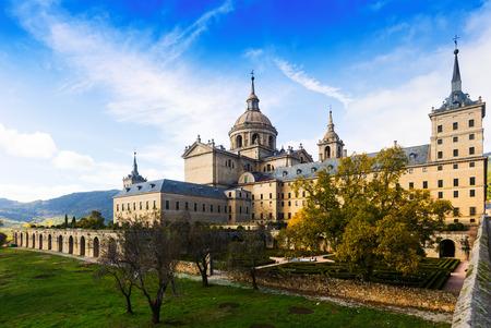 Royal Palace: El Escorial. View of Royal Palace in autumn day Editorial